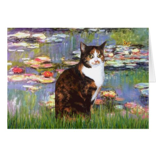 Lilies 2 - Calico cat Greeting Card