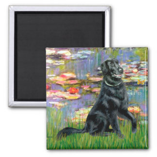 Lilies 2 - Flat Coated Retriever Refrigerator Magnets