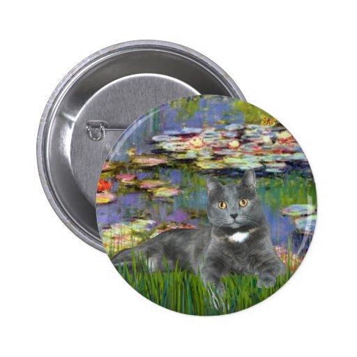 Lilies 2 - Grey cat 2 Inch Round Button