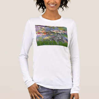 Lilies 2 - Grey cat Long Sleeve T-Shirt