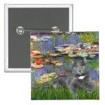 Lilies 2 - Grey cat Pin