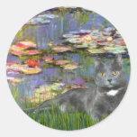 Lilies 2 - Grey cat Sticker