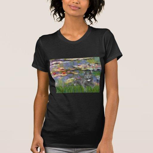 Lilies 2 - Grey cat T Shirt