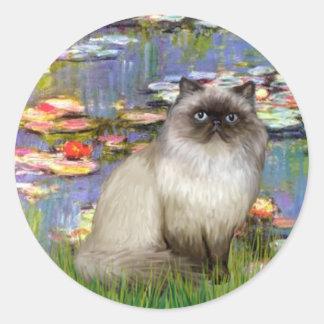 Lilies 2 - Himalayan cat 7 Classic Round Sticker