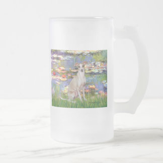 Lilies 2 - Italian Greyhound 5 Frosted Glass Beer Mug