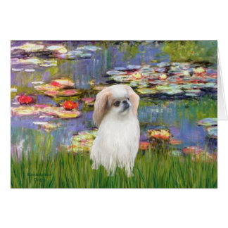 Lilies 2 - Japanese Chin (L2) Greeting Card
