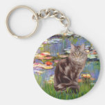 Lilies 2 - Maine Coon cat 10 Key Chain
