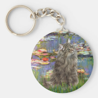 Lilies 2 - Norwegian Forest cat Key Chains
