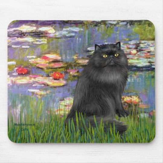Lilies 2 - Persian cat (black) Mouse Pad