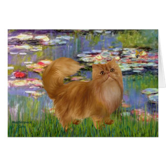 Lilies 2 - Red Persian cat Card