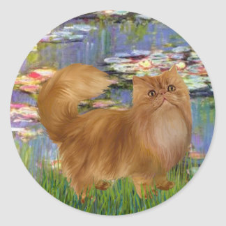 Lilies 2 - Red Persian cat Classic Round Sticker