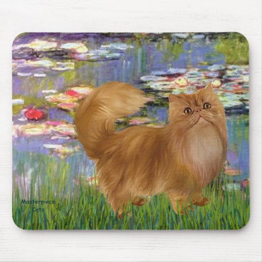 Lilies 2 - Red Persian cat Mouse Pad