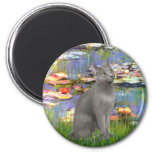 Lilies 2 - Russian Blue cat 2 Inch Round Magnet