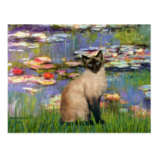 Lilies 2 - Seal Point Siamese cat Postcard