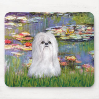 Lilies 2 - Shih Tzu (white) Mouse Pad