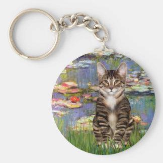 Lilies 2 - Tabby Tiger cat 30 Keychain