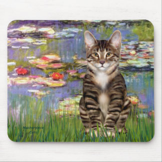 Lilies 2 - Tabby Tiger cat 30 Mouse Pad