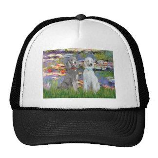Lilies 2 - Two Standard Poodles Slvr-Crm Hat