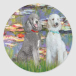 Lilies 2 - Two Standard Poodles (Slvr-Crm) Round Stickers