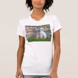 Lilies 2 - Two Standard Poodles (Slvr-Crm) T-shirt