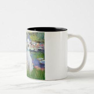 Lilies 2 - Two Standard Poodles (Slvr-Crm) Two-Tone Coffee Mug