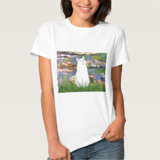 Lilies 2 - White cat T Shirt