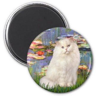 Lilies 2 - White Persian cat 2 Inch Round Magnet