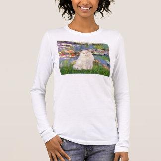 Lilies 2 - White Persian cat Long Sleeve T-Shirt