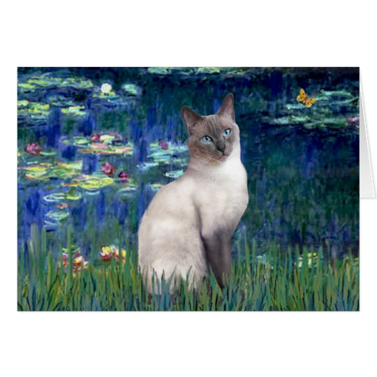 Lilies 5 - Blue Point Siamese cat Card