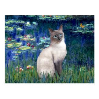 Lilies 5 - Blue Point Siamese cat Postcard