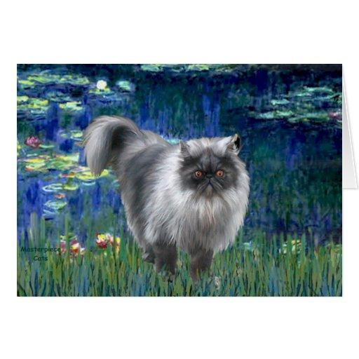 Lilies 5 - Blue Smoke Persian cat Greeting Cards
