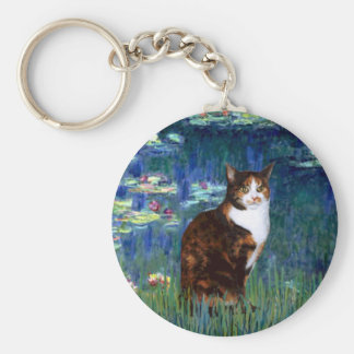 Lilies 5 - Calico cat Keychain