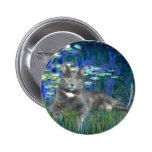 Lilies 5 - Grey cat Buttons