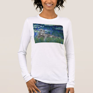 Lilies 5 - Grey cat Long Sleeve T-Shirt