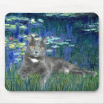 Lilies 5 - Grey cat Mouse Pad