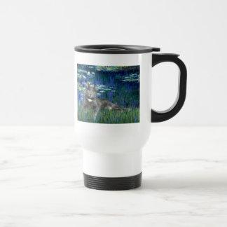 Lilies 5 - Grey cat Travel Mug