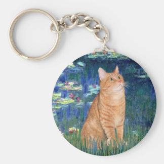 Lilies 5 - Orange Tabby SH cat 46 Basic Round Button Keychain