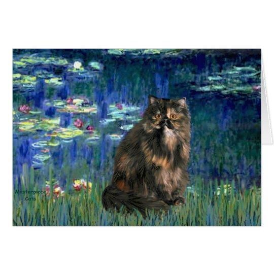 Lilies 5 - Persiasn Calico cat Card