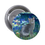 Lilies 5 - Russian Blue cat 2 2 Inch Round Button