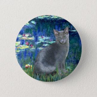 Lilies 5 - Russian Blue cat 2 Button