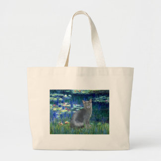 Lilies 5 - Russian Blue cat 2 Large Tote Bag