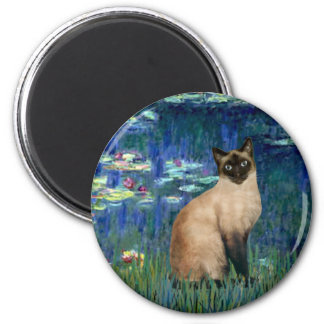 Lilies 5 - Seal Point Siamese cat 2 Inch Round Magnet