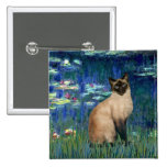 Lilies 5 - Seal Point Siamese cat Button