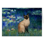 Lilies 5 - Seal Point Siamese cat Greeting Card