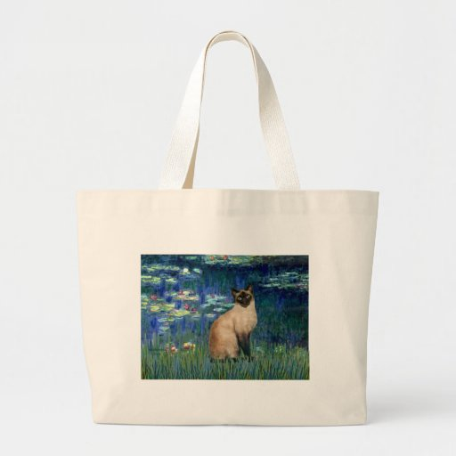 Lilies 5 - Seal Point Siamese cat Jumbo Tote Bag