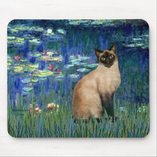 Lilies 5 - Seal Point Siamese cat Mouse Pad