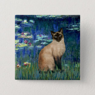 Lilies 5 - Seal Point Siamese cat Pinback Button