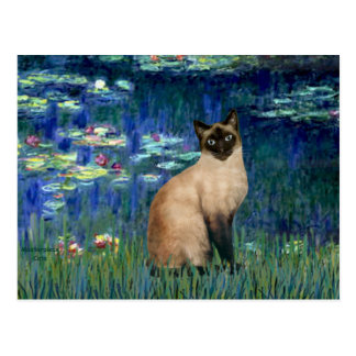Lilies 5 - Seal Point Siamese cat Postcard