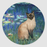 Lilies 5 - Seal Point Siamese cat Classic Round Sticker
