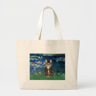 Lilies 5 - Tabby Tiger cat 30 Large Tote Bag